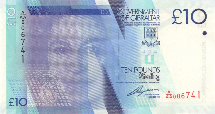 Gibraltar P36 10 Pounds Sterling 2010 UNC