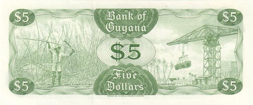 Guyana P22e 5 Dollars 1966-1992 UNC