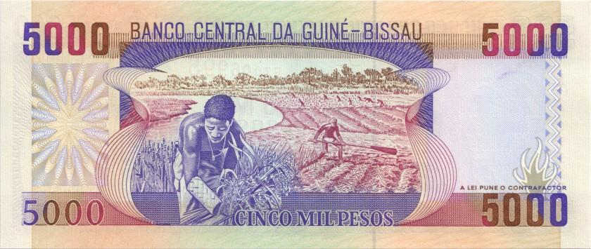 Guinea Bissau P14ar REPLACEMENT 5.000 Pesos 1990 UNC