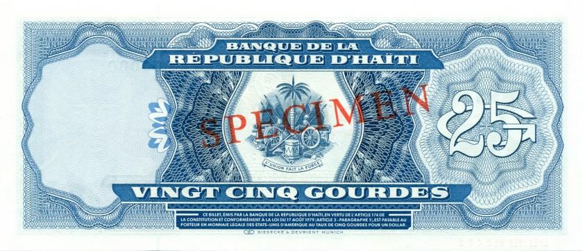 Haiti P243s SPECIMEN 25 Haitian Gourdes 1979 UNC