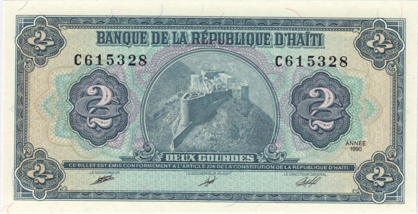 Haiti P254 2 Haitian Gourdes 1990 UNC