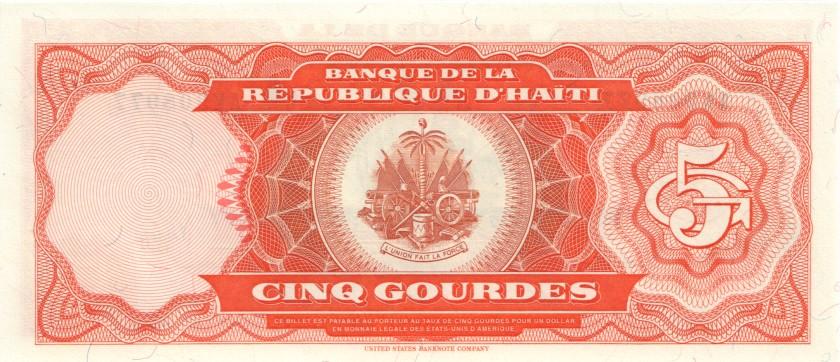 Haiti P255 5 Haitian Gourdes 1989 UNC