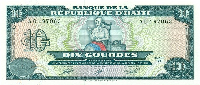 Haiti P256 10 Haitian Gourdes 1991 UNC