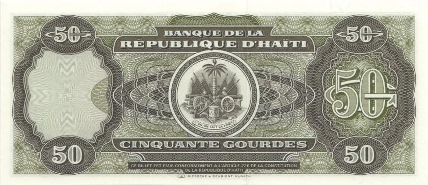 Haiti P257 50 Haitian Gourdes 1991 UNC
