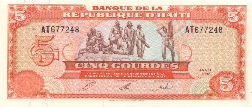 Haiti P261 5 Gourdes 1992 UNC