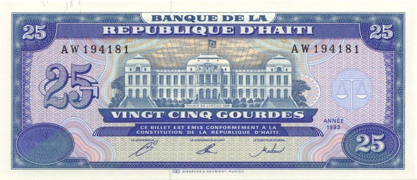 Haiti P262 25 Haitian Gourdes 1993 UNC