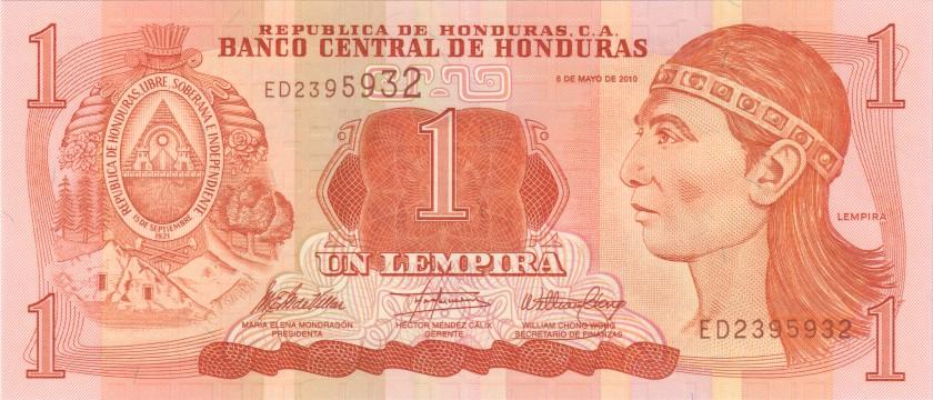 Honduras P89b 2395932 RADAR 1 Lempira 2010 UNC