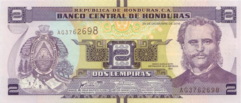Honduras P97c 2 Lempiras 2016 UNC