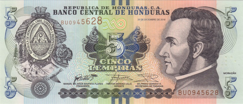 Honduras P98c 5 Lempiras 2016 UNC