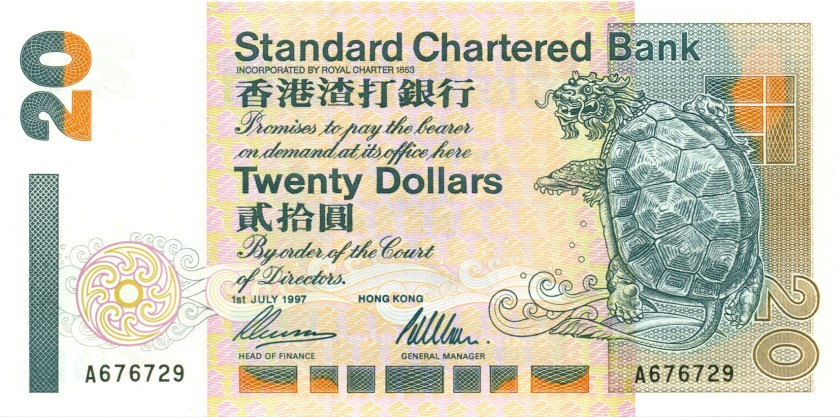 Hong Kong P285b 20 Dollars 1997 UNC
