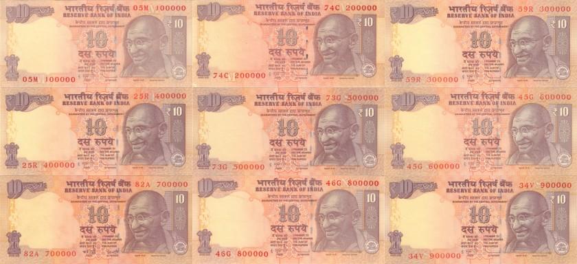India P95,102 100000 - 900000 10 Rupees 9 banknotes 2006 - 2013 AU-UNC