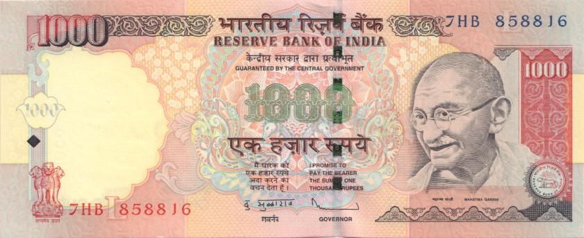 India P100w 1.000 Rupees Plate letter L 2012 UNC