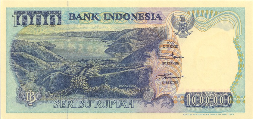 Indonesia P129d 1.000 Rupiah 1992/1995 UNC