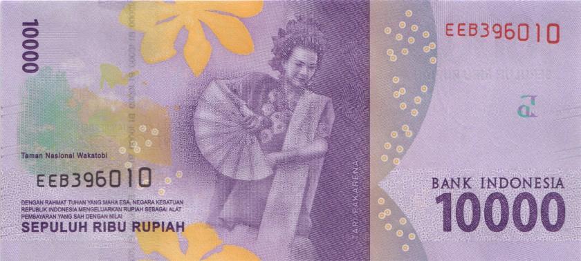 Indonesia P157 10.000 Rupiah 2016/2018 UNC