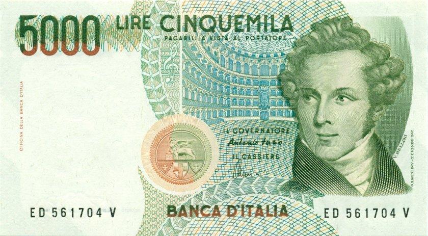 Italy P111c 5.000 Lire 1985 UNC