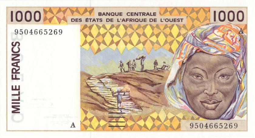 West African States Ivory Coast P111Ae 1.000 Francs 1995 UNC
