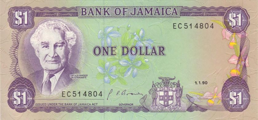 Jamaica P68Ad 1 Dollar 1990 UNC