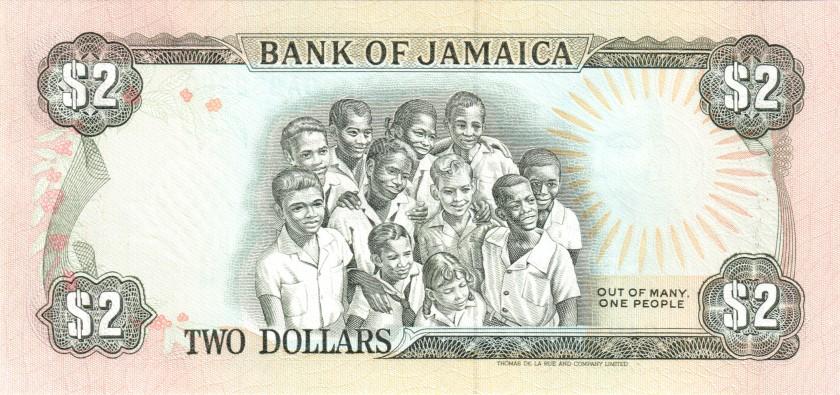 Jamaica P69d 2 Dollars 1990 UNC