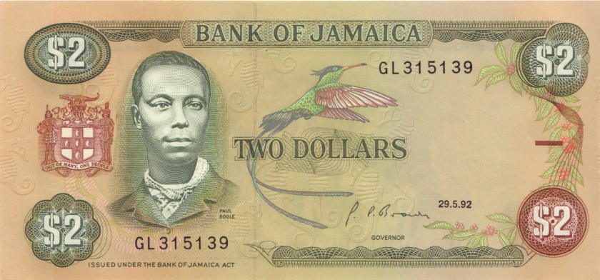 Jamaica P69d 2 Dollars 1992 UNC