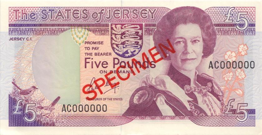 Jersey P16s SPECIMEN 5 Pounds 1989 UNC