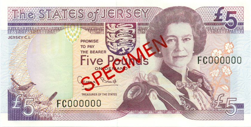Jersey P21s SPECIMEN 5 Pounds 1993 UNC