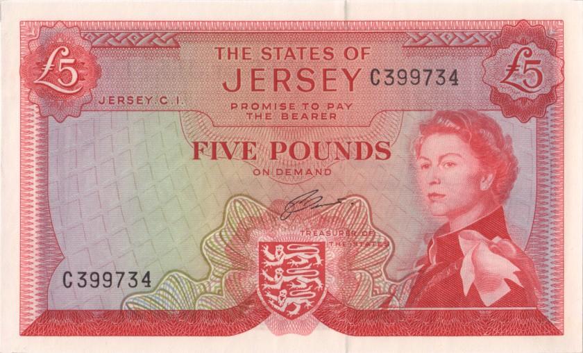 Jersey P9b 5 Pounds 1963 UNC