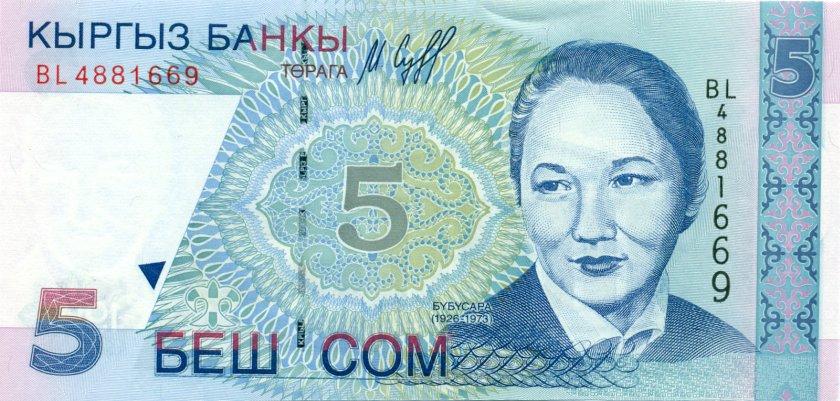 Kyrgyzstan P13 5 Som 1997 UNC