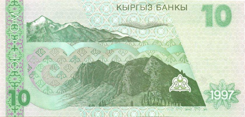 Kyrgyzstan P14 10 Som 1997 UNC