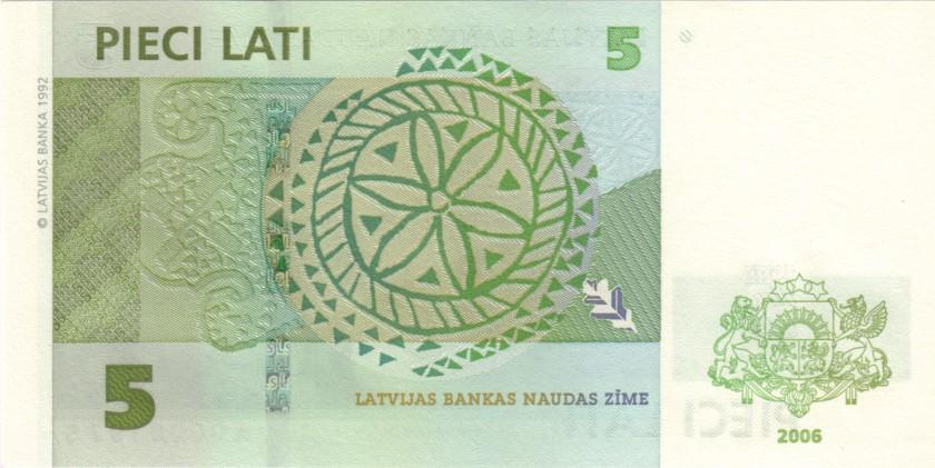 Latvia P53a A0000197S 5 Lati 2006 UNC