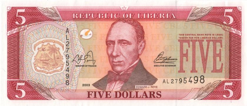Liberia P26a 5 Dollars 2003