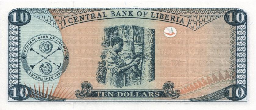Liberia P27a 10 Dollars 2003 UNC