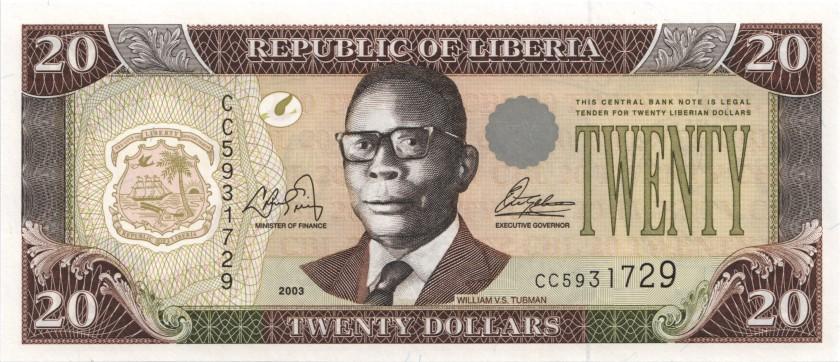 Liberia P28a 20 Dollars 2003 UNC