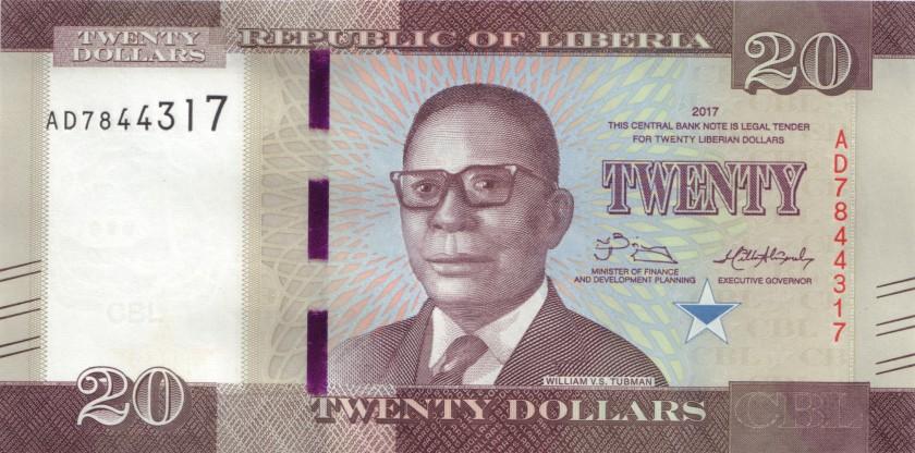 Liberia P33b 20 Dollars 2017 UNC