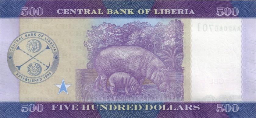 Liberia P36b 500 Dollars 2017 UNC