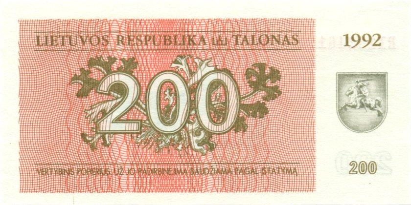 Lithuania P43 200 Talonas 1992 UNC