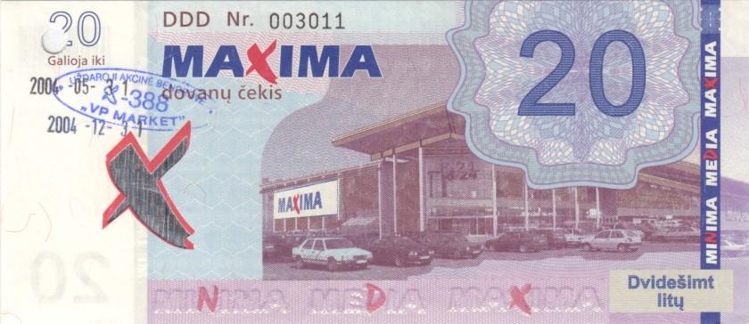 Lithuania PNL MAXIMA 20 Litas 31.05.2004 Prolonged till 31.12.2004 AU/UNC
