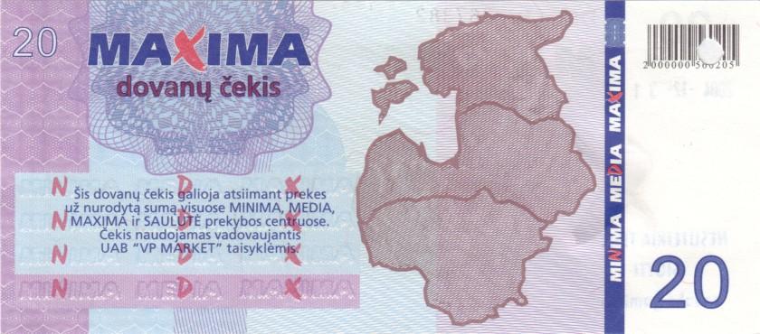 Lithuania PNL MAXIMA 20 Litas Blue date 31.12.2004 AU/UNC