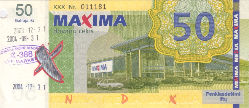 Lithuania PNL MAXIMA 50 Litas 31.12.2003 Prolonged till 31.12.2004 AU/UNC