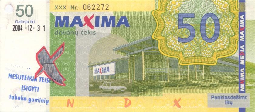 Lithuania PNL MAXIMA 50 Litas Black date 31.12.2004 AU/UNC