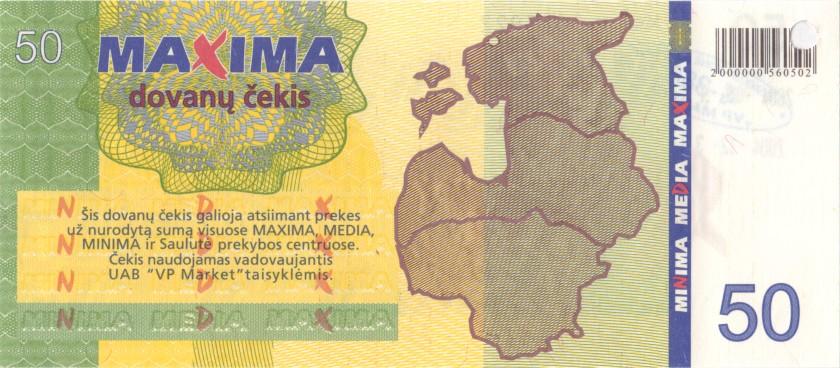 Lithuania PNL MAXIMA 50 Litas Blue date 31.12.2004 AU/UNC