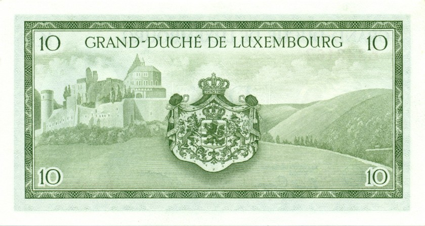 Luxembourg P48a(2) 10 Francs 1954 UNC