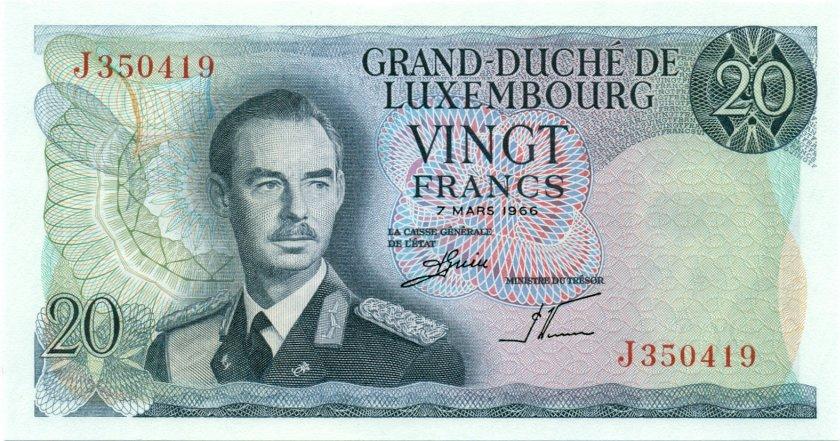 Luxembourg P54 20 Francs 1966 UNC
