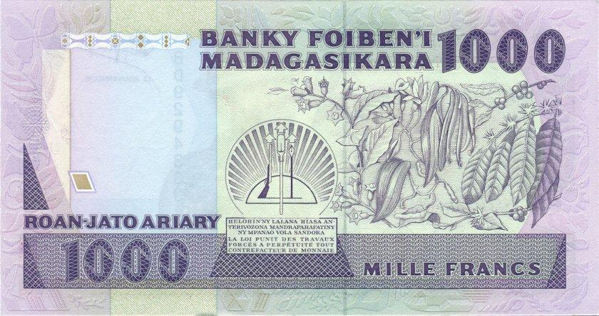 Madagascar P72b 1.000 Francs (200 Ariary) 1988-1993 UNC