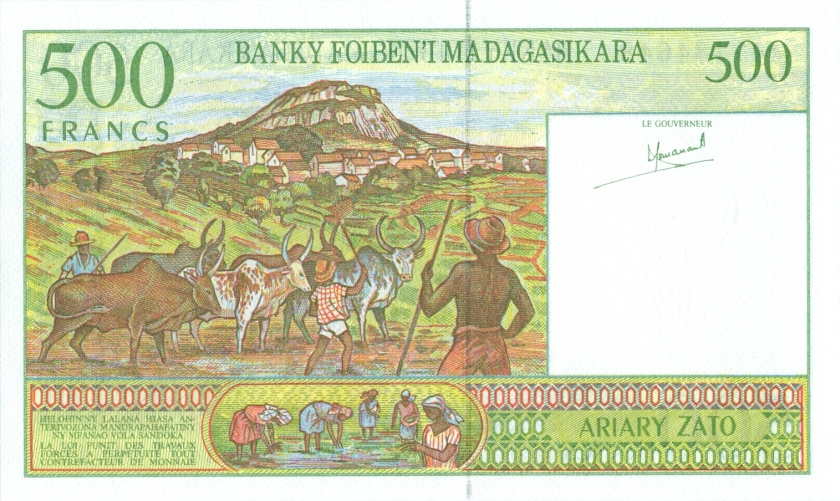 Madagascar P75a 500 Francs (100 Ariary) 1994 UNC