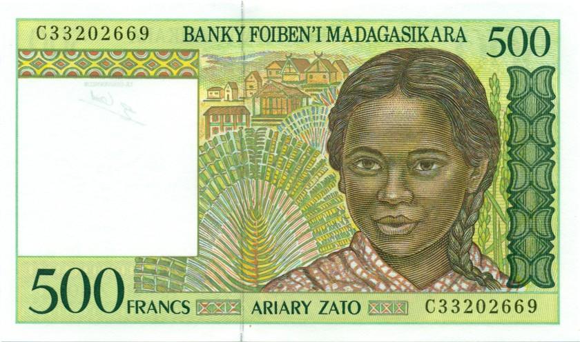Madagascar P75b 500 Francs (100 Ariary) 1994 UNC