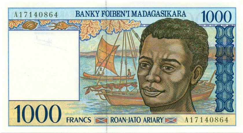 Madagascar P76a 1.000 Francs (200 Ariary) 1994 UNC