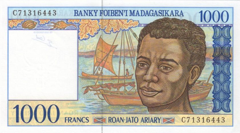 Madagascar P76b 1.000 Francs (200 Ariary) 1994 UNC