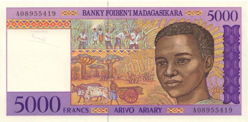 Madagascar P78a 5.000 Francs (1.000 Ariary) 1995 UNC