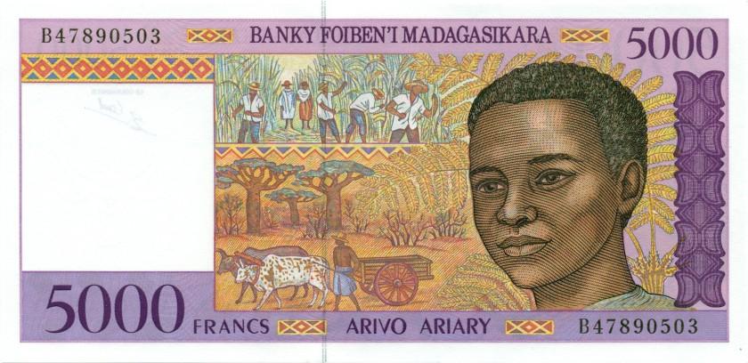 Madagascar P78b 5.000 Francs (1.000 Ariary) 1995