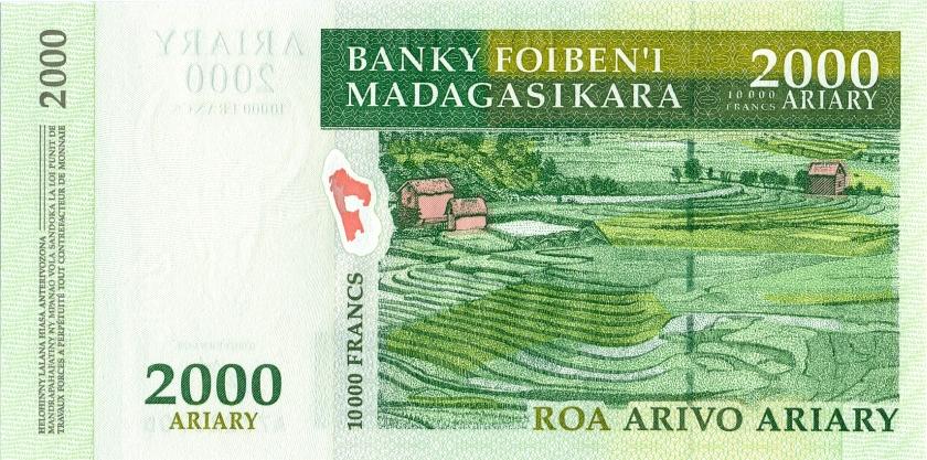 Madagascar P83 10.000 Francs (2.000 Ariary) 2003 UNC
